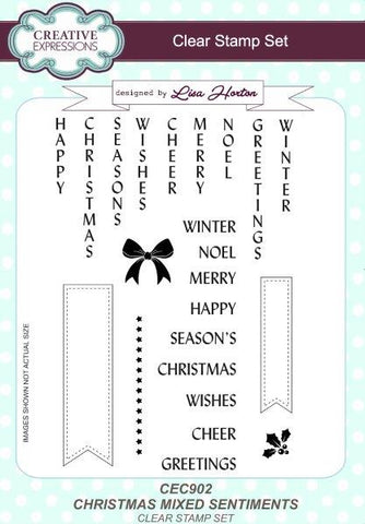 Christmas Mixed Sentiments A5 Clear Stamp Set By Creative Expressions CEC902