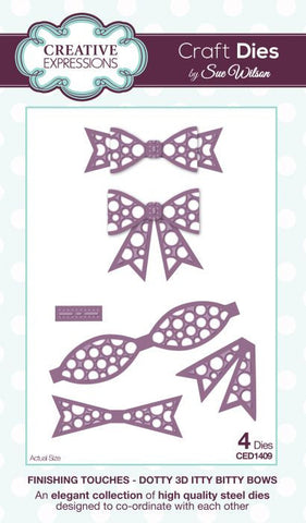 Finishing Touches Collection Dotty 3D Itty Bitty Bow By Sue Wilson Creative Expressions CED1409