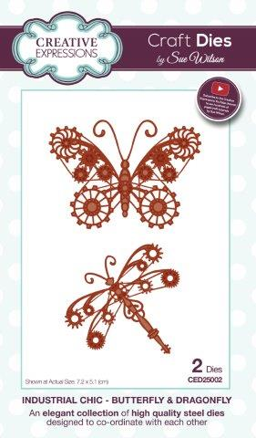 Butterfly & Dragonfly Industrial Collection Steampunk Die By Sue Wilson Creative Expressions CED25002