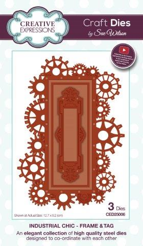 Frame and Tag Industrial Collection Steampunk Die By Sue Wilson Creative Expressions CED25006