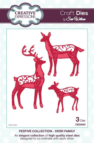 Deer Family Festive Collection Dies Sue Wilson Creative Expressions CED3042
