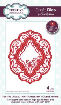 Poinsettia Filigree Frame Festive Collection Die by Sue Wilson Creative Expressions CED3050