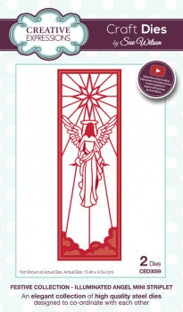 Illuminated Angel Mini Striplet Craft Dies Festive Collection by Sue Wilson Creative Expressions CED3059