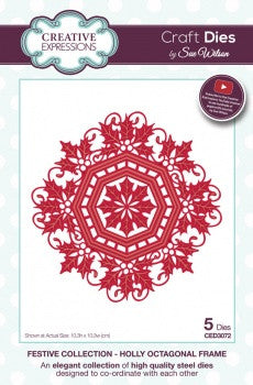 Creative Expressions Craft Dies by Sue Wilson - Festive Collection - Holly Octagonal Frame