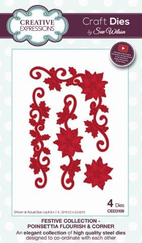 Poinsettia Flourish and Corner Festive Collection Creative Expressions Sue Wilson CED3109