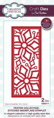 Stitched Snowflake Striplet Festive Collection Dies by Sue Wilson CED3111