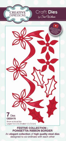 Poinsettia Ribbon Border Craft Dies Festive Collection by Sue Wilson Creative Expressions CED3175