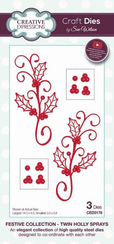 Twin Holly Spray Festive Collection Craft Dies Creative Expressions by Sue Wilson CED3176