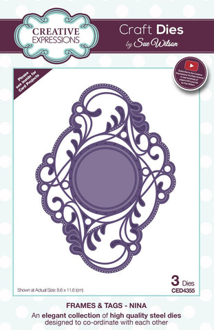 Nina Frames and Tags Collection Die By Sue Wilson Creative Expressions CED4355