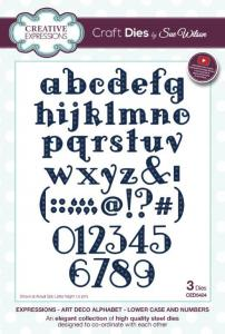 Art Deco Alphabet and Lowercase Numbers Expressions Dies By Sue Wilson Creative Expressions CED5424