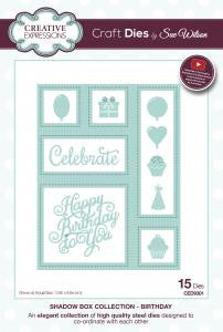 NEW APRIL 2016 Shadow Boxes Collection - Birthday CED9301 By Sue Wilson