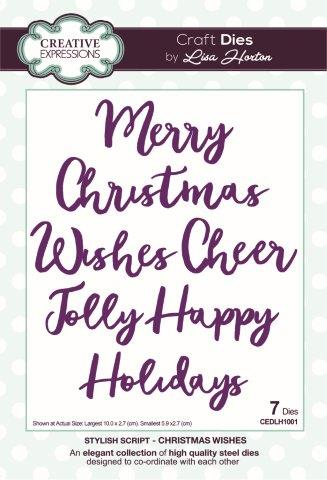 Christmas Wishes Stylish Script Collection Dies By Lisa Horton Creative Expressions CEDLH1001