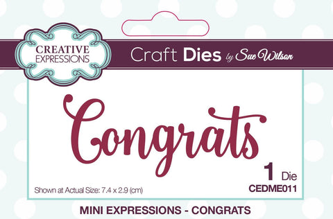 Congrats Die Mini Expressions Collection By Sue Wilson Creative Expressions CEDME011
