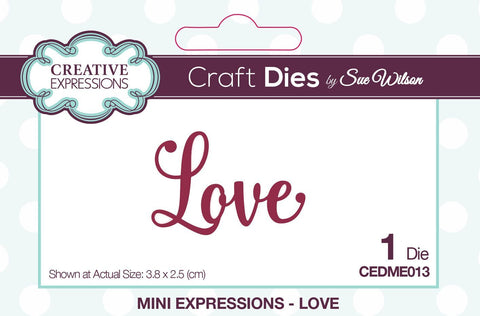 Love Wording Die Mini Expressions Collection By Sue Wilson Creative Expressions CEDME013