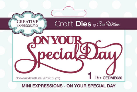 On Your Special Day Mini Expressions Wording Die Sue Wilson Creative Expressions CEDME030