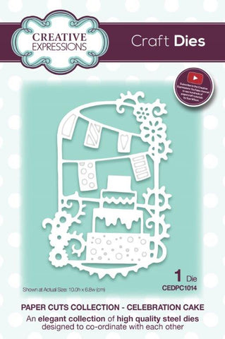 Celebration Cake Paper Cuts Collection Die By Sue Wilson Creative Expressions CEDPC1014