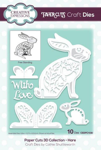 Paper Cuts 3D Collection - Hare CEDPC1030 Craft Die By Cathie Shuttleworth For Creative Expressions