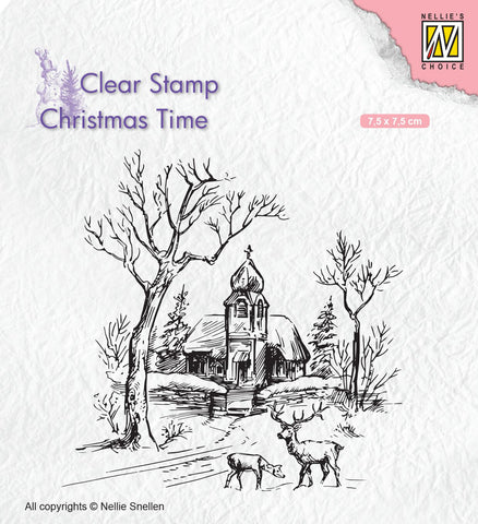 Church and Deer Clear Stamp Christmas Time Nellie Snellen CT027
