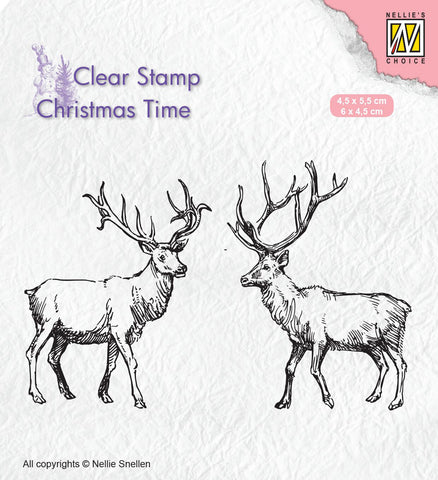 Two Reindeer Clear Stamp Christmas Time Nellie Snellen CT028