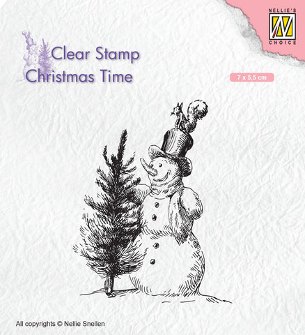 Snowman with Tree Nellie Snellen Clear Stamp Christmas Time CT029