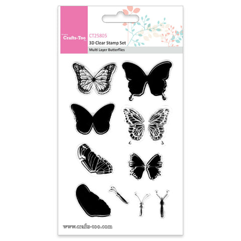 Crafts Too 3D Clear Stamp Set - Multi Layer Butterflies (10pcs) Ref: CT25805