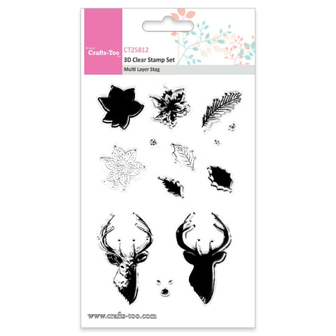 Crafts Too 3D Clear Stamp Set - Multi Layer Stag (13pcs) Ref: CT25812