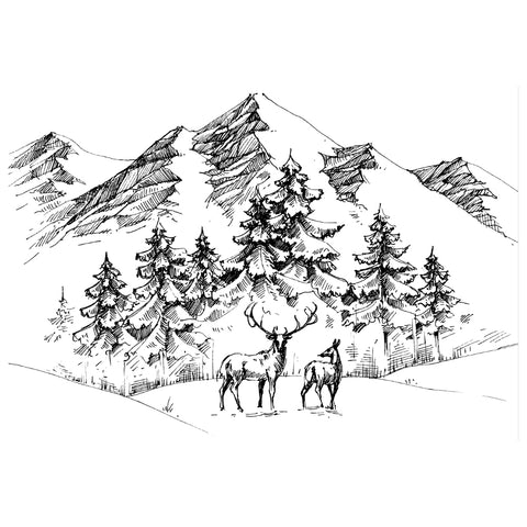 Deer Mountain Scene Stamp By Two Jays Stamps CTJJ107