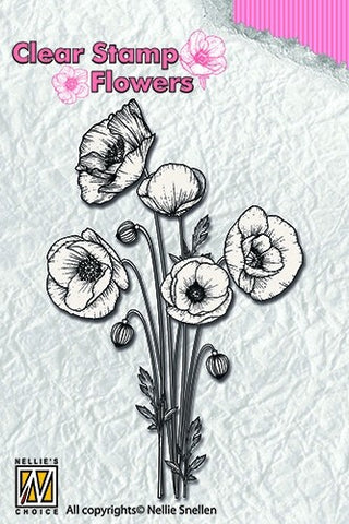 Nellie Snellen Clear Stamp Flowers - Poppies Ref: FLO014