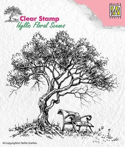 Tree with Bench Clear Stamp Idyllic Floral Scenes Nellie Snellen IFS007