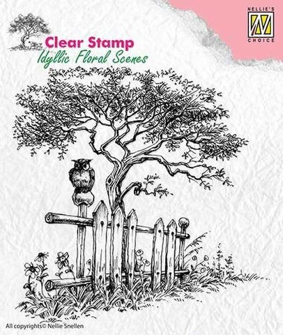 Nellie Snellen Clear Stamp Idyllic Floral Scenes - Tree with Fence  IFS008