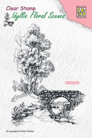 Scene with Stream and Bridge Clear Stamps Idyllic Floral Scene Nellie Snellen IFS011
