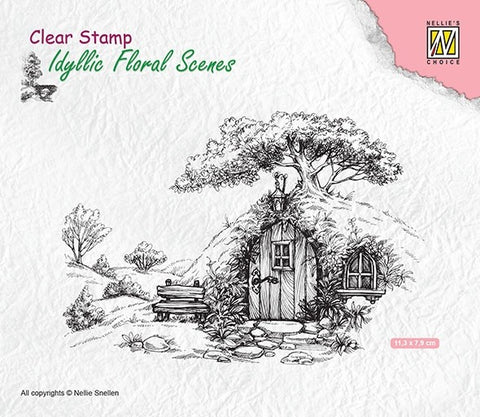 Scene with Old House Clear Stamps Idyllic Floral Scene Nellie Snellen IFS012