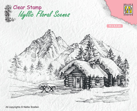 Nellie Snellen Clear Stamp Idyllic Floral Scenes - Snowy Landscape with Cottage IFS015