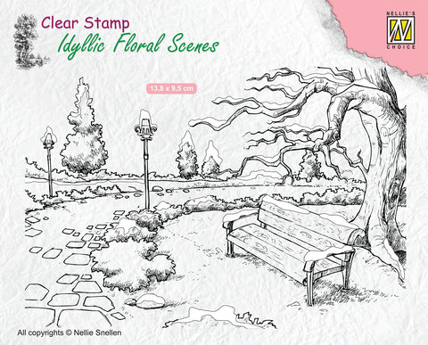 Nellie Snellen Clear Stamp Idyllic Floral Scenes - Wintery Park with Bench IFS016