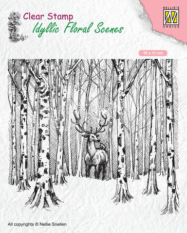 Nellie Snellen Clear Stamp Idyllic Floral Scenes - Deer in Forest IFS017