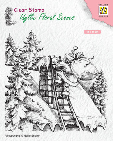 Santa Claus at Work Clear Stamp Idyllic Floral Scenes Nellie Snellen IFS018