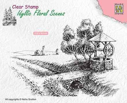 Well Clear Stamp Idyllic Floral Scenes Nellie Snellen IFS021