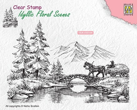 Horse and Cart Clear Stamp Idyllic Floral Scenes Nellie Snellen IFS022