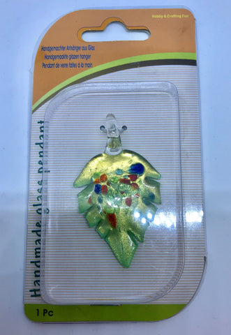 Leaf Handmade Glass Pendant Accorted Colours 60x35mm 1pcs. TRC146