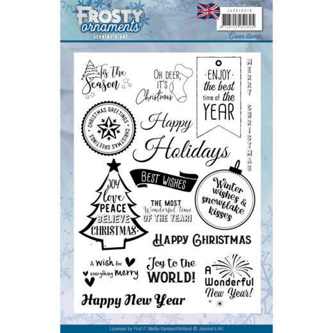 Frosty Ornaments Text Clear Stamps Jeanine's Art JACS10019
