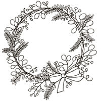 Woodware Clear Singles - Sketchy Wreath JGS462