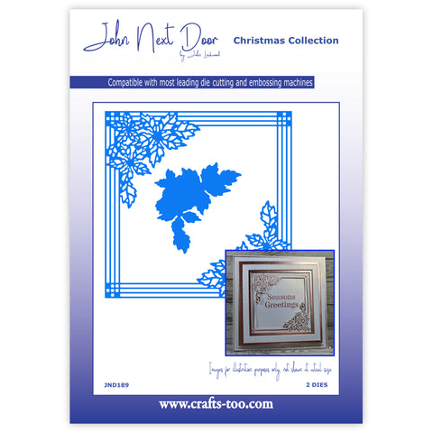 Pinstripe Poinsettia Frame Die John Next Door Christmas Collection Dies JND189