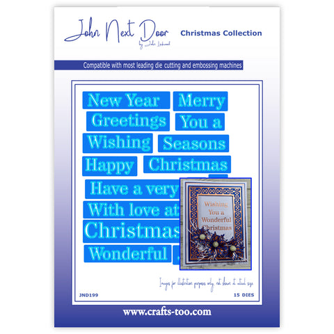 Christmas Stencil Sentiments Die John Next Door Christmas Collection Dies John Lockwood JND199