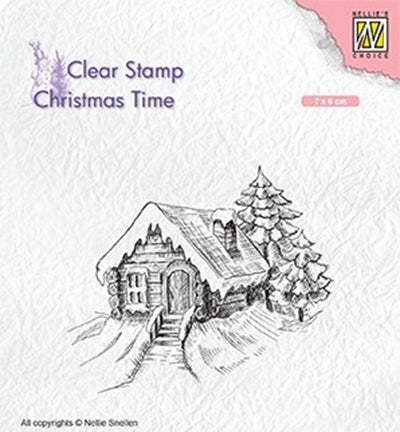 Cosily Snowy Cottage Clear Stamp Christmas Time Nellie Snellen CT030
