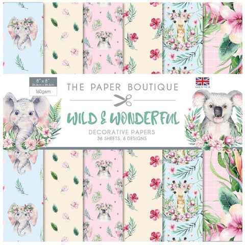 Wild & Wonderful Decorative Papers 8x8 36 Sheets 160gsm By The Paper Boutique PB1283