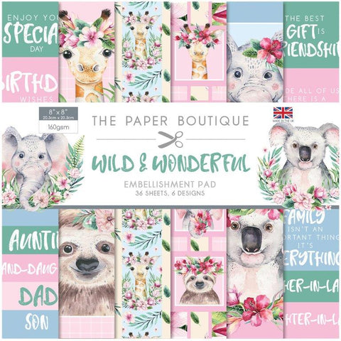 Wild Wonderful Embellishment 8x8 Pad 160gsm By The Paper Boutique PB1284