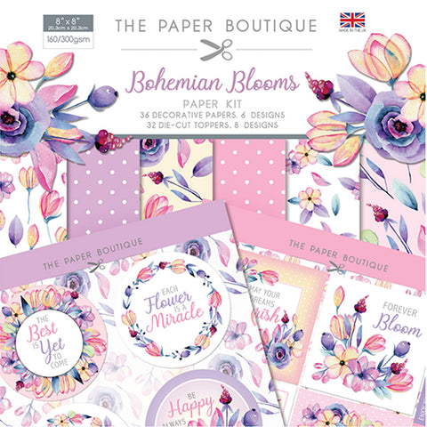 Bohemian Blooms Paper Kit 8x8 Pad 160/300gsm By The Paper Boutique PB1324