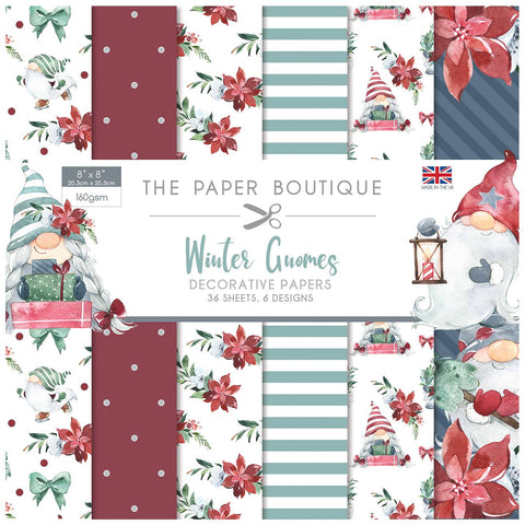Winter Gnomes Decorative Papers 8x8 36 Sheets 160gsm By The Paper Boutique PB1398