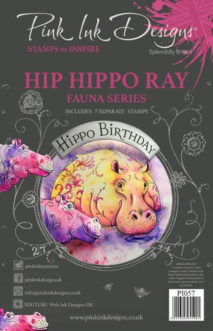 Hip Hippo Ray Fauna Series 7 Stamps Set By Pink Ink Designs PI057