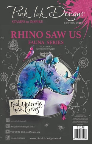 Rhino Saw Us Fauna Series 9 Stamps Set By Pink Ink Designs PI058